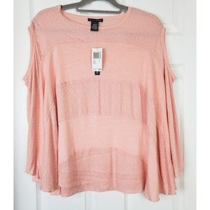 NWT Chelsea & theodore peach tunic top size S